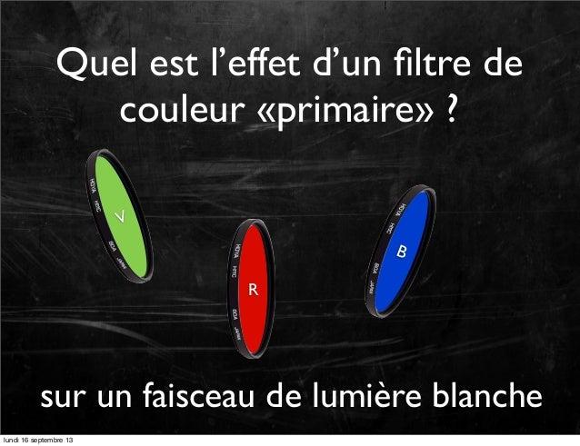 Quel est l'effet d'un filtre de couleur «primaire» ? V  B R  sur un faisceau de lumière blanche lundi 16 septembre 13