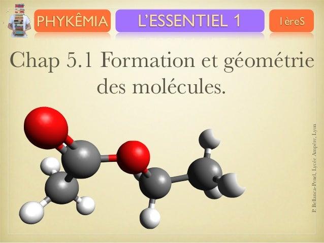 PHYKÊMIA  L'ESSENTIEL 1  1èreS  P. Bellanca-Penel, Lycée Ampère, Lyon  Chap 5.1 Formation et géométrie des molécules.