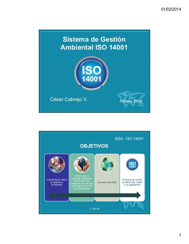 01/02/2014 1 Sistema de Gestión Ambiental ISO 14001 Febrero 2014César Cabrejo V. SGA - ISO 14001 Concientizar sobre el det...