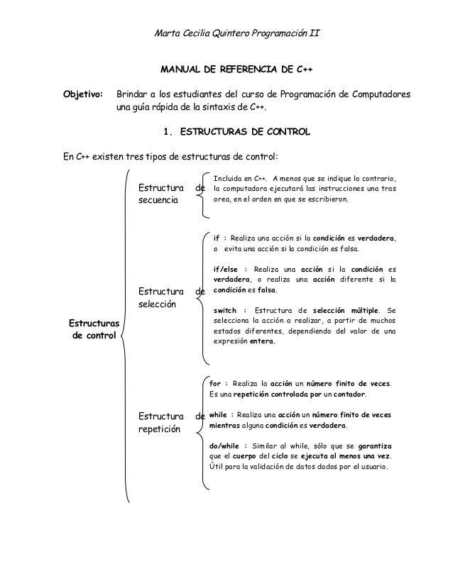 Marta Cecilia Quintero Programación II MANUAL DE REFERENCIA DE C++ Objetivo: Brindar a los estudiantes del curso de Progra...