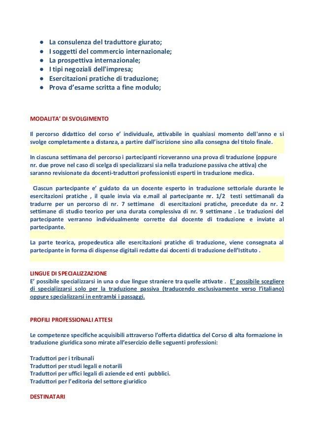 Corso di alta formazione in traduzione giuridico-commerciale - S.S.…