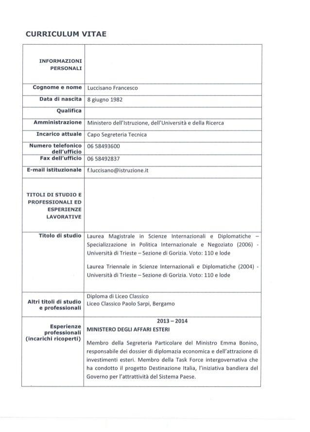 """CURRICULUM VITAE  INFORMAZIONI PERSONALI  COGNOME e """"Ome Luccisano Francesco  Data di nascita 8 giugno 1982     Amministra..."""