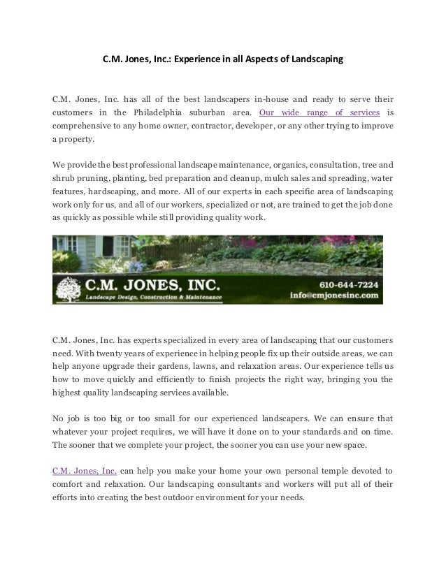 C M Jones Inc Experience In All Aspects Of Landscaping