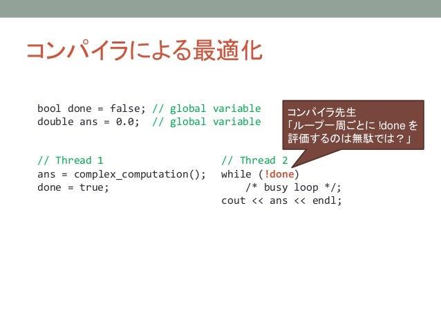コンパイラによる最適化 // Thread 1 ans = complex_computation(); done = true; // Thread 2 while (!done) /* busy loop */; cout << ans <...