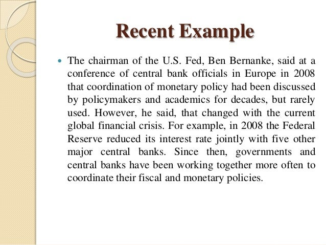 the monetary and fiscal policies coordination Monetary and fiscal policy coordination in nigeria:  the fiscal and monetary policies  absence of monetary-fiscal policy coordination adversely affects.
