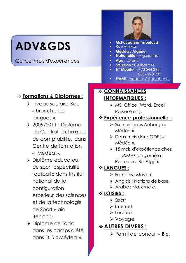  Formations & Diplômes :  niveau scolaire Bac « branche les langues ».  2009/2011 : Diplôme de Control Techniques de co...