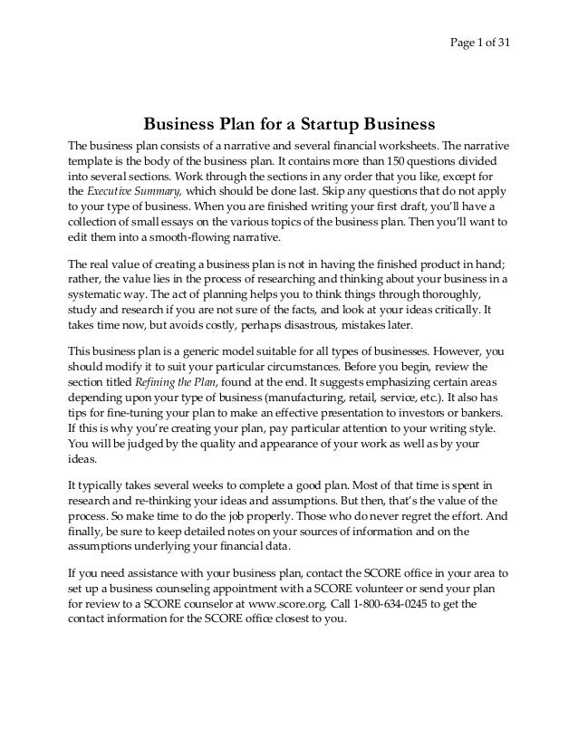 Business Plan For Start Up Business