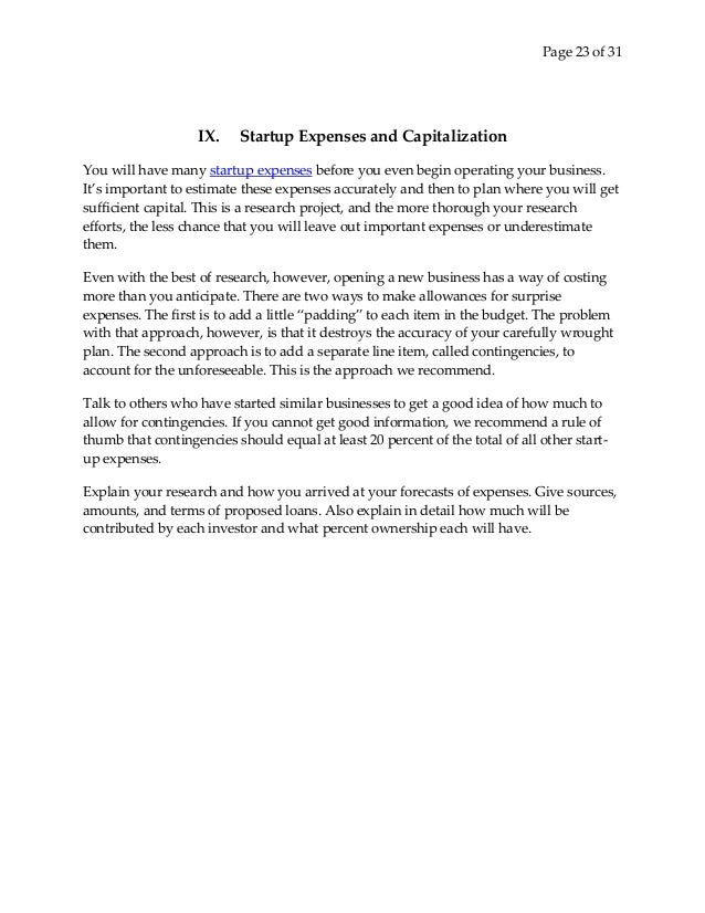 capital expenditure proposal template - business plan for start up business