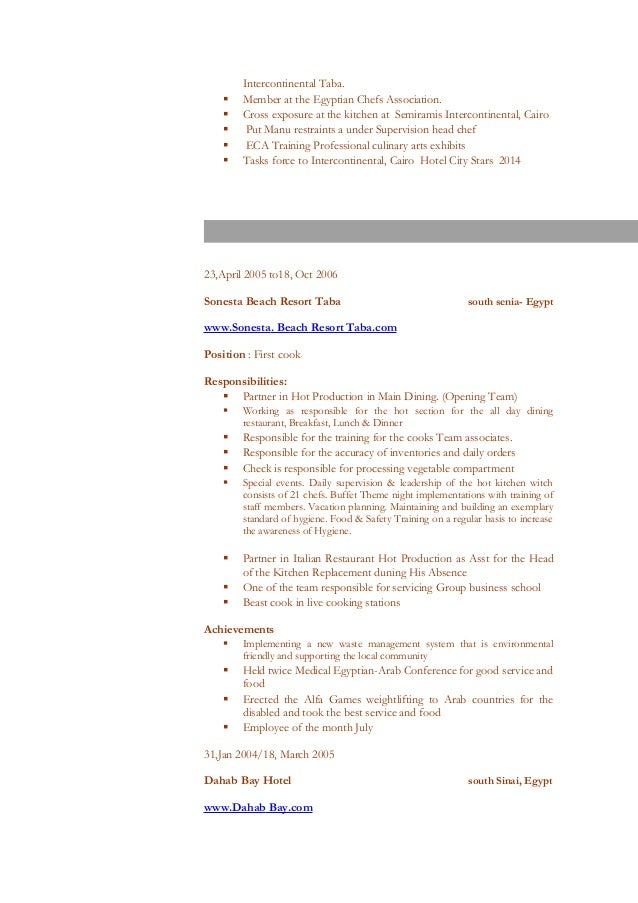 resume for a chef