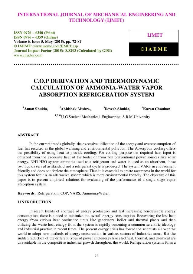 C O P Derivation And Thermodynamic Calculation Of Ammonia