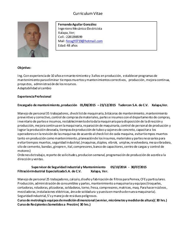 C.v. ing. mecanico electricista 3