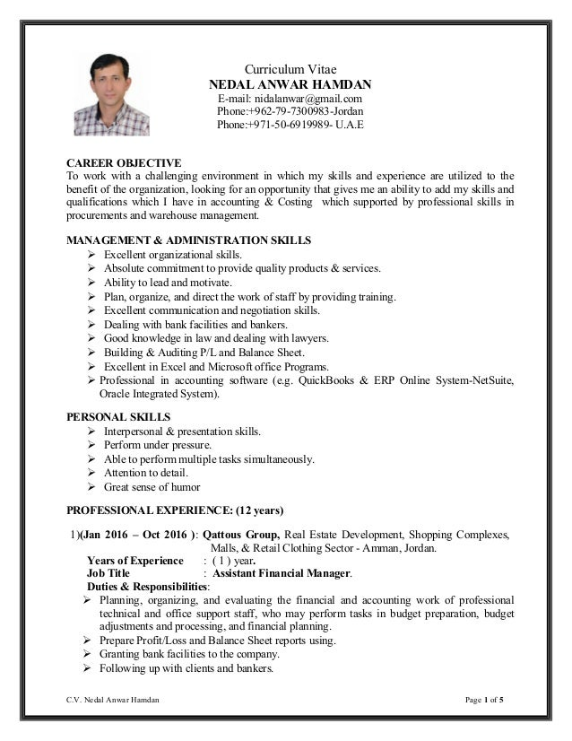 nidal hamdan resume accounting manager