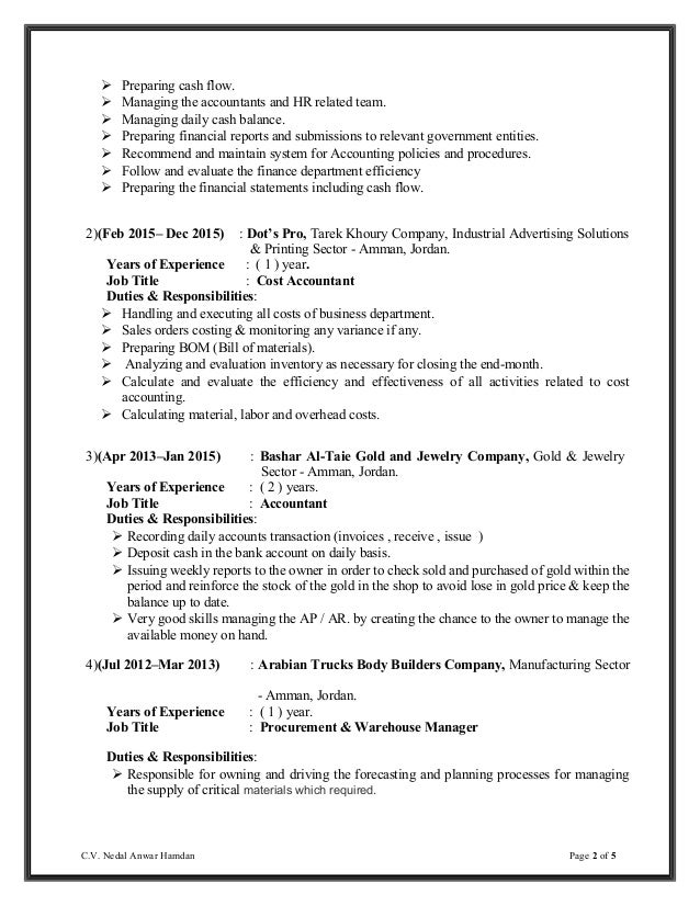 Sample Resume For Accounting Manager. Accounting Summary For