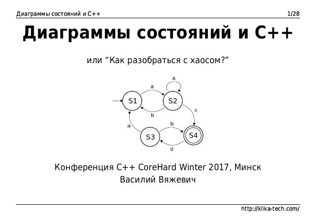 Диаграммы состояний и C++ 1/28 http://klika-tech.com/ Диаграммы состояний и C++ 1/28 http://klika-tech.com/ Диаграммы сост...