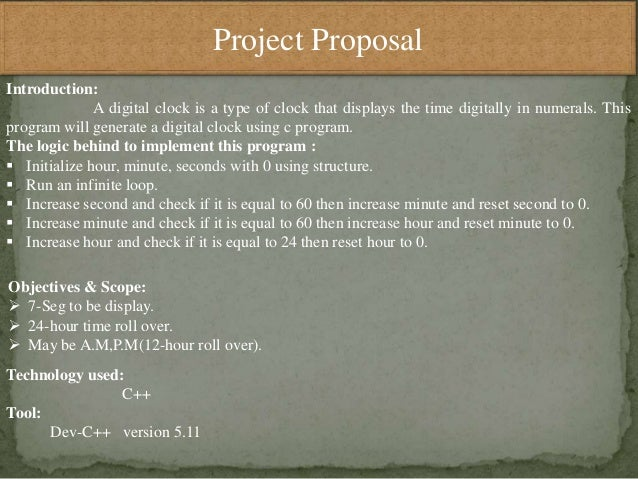 Proposal for project ofdigital class in C++