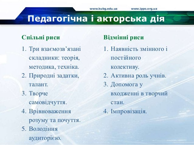 Педагогічна і акторська дія www.kubg.edu.ua www.ippo.org.ua Спільні риси 1. Три взаємозв'язані складники: теорія, методика...