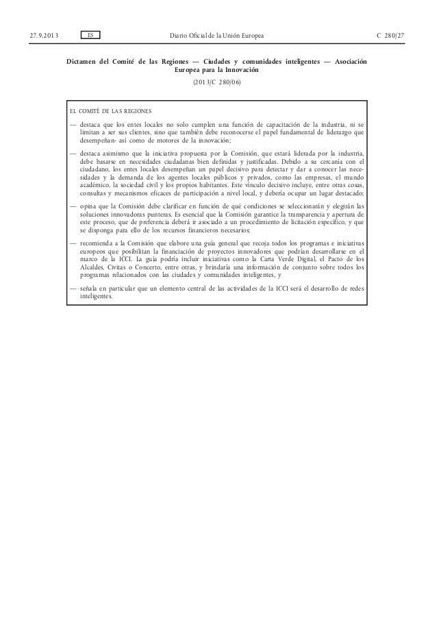 Dictamen del Comité de las Regiones — Ciudades y comunidades inteligentes — Asociación Europea para la Innovación (2013/C ...