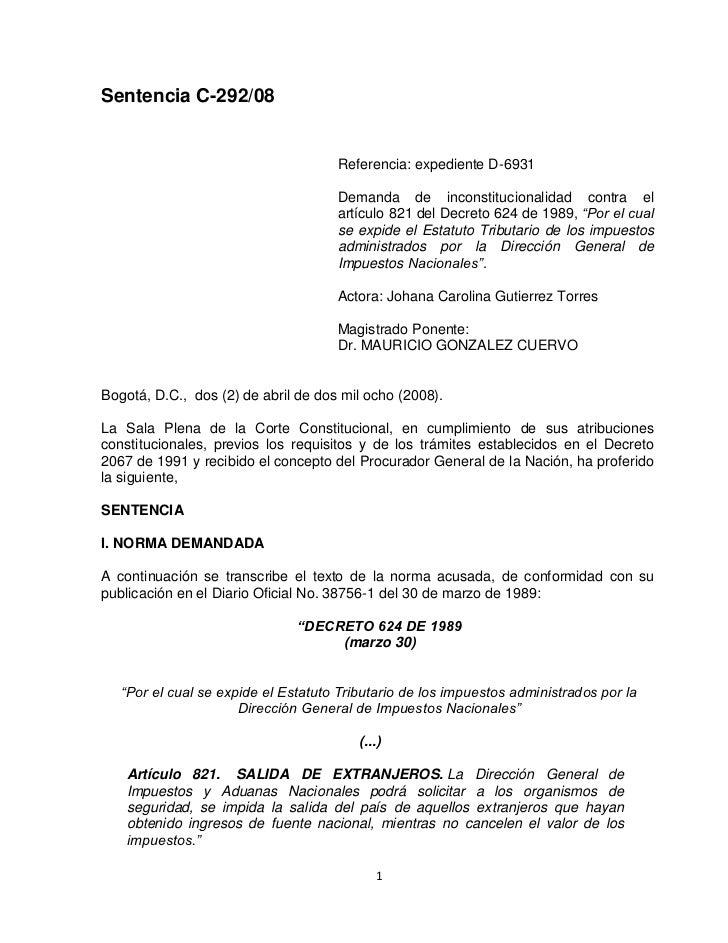 Sentencia C-292/08                                     Referencia: expediente D-6931                                     D...
