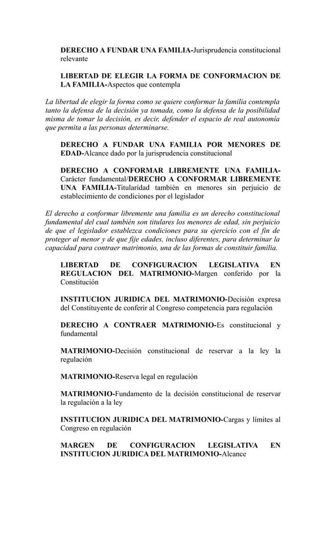 DERECHO A FUNDAR UNA FAMILIA-Jurisprudencia constitucional     relevante     LIBERTAD DE ELEGIR LA FORMA DE CONFORMACION D...