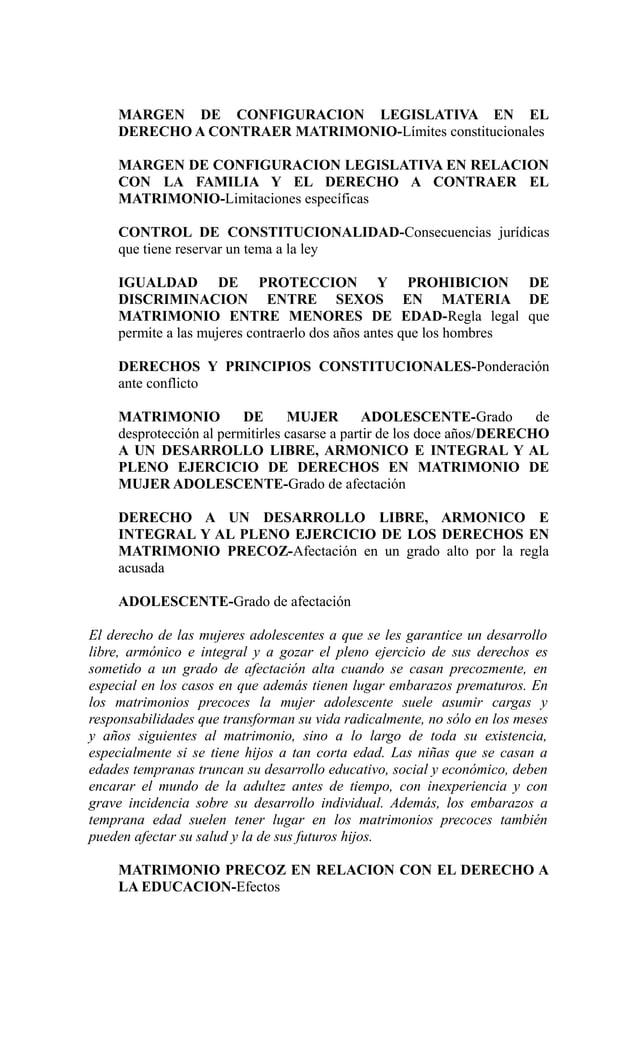 MARGEN DE CONFIGURACION LEGISLATIVA EN EL    DERECHO A CONTRAER MATRIMONIO-Límites constitucionales    MARGEN DE CONFIGURA...