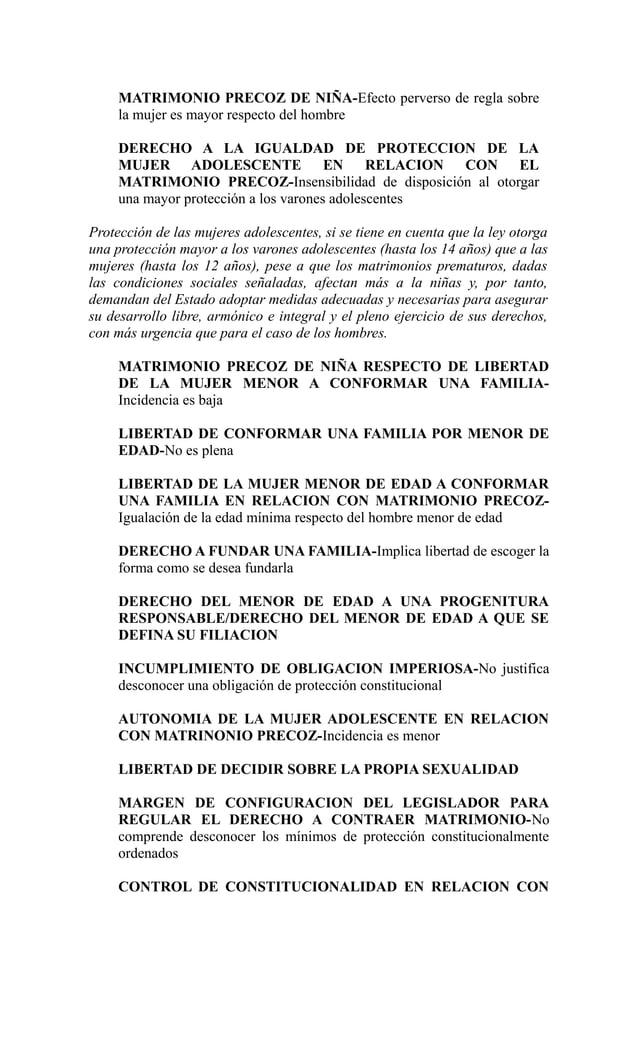 MATRIMONIO PRECOZ DE NIÑA-Efecto perverso de regla sobre     la mujer es mayor respecto del hombre     DERECHO A LA IGUALD...