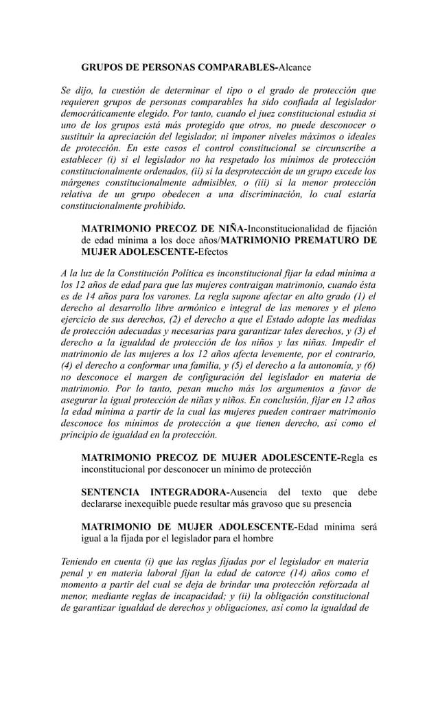 GRUPOS DE PERSONAS COMPARABLES-AlcanceSe dijo, la cuestión de determinar el tipo o el grado de protección querequieren gru...