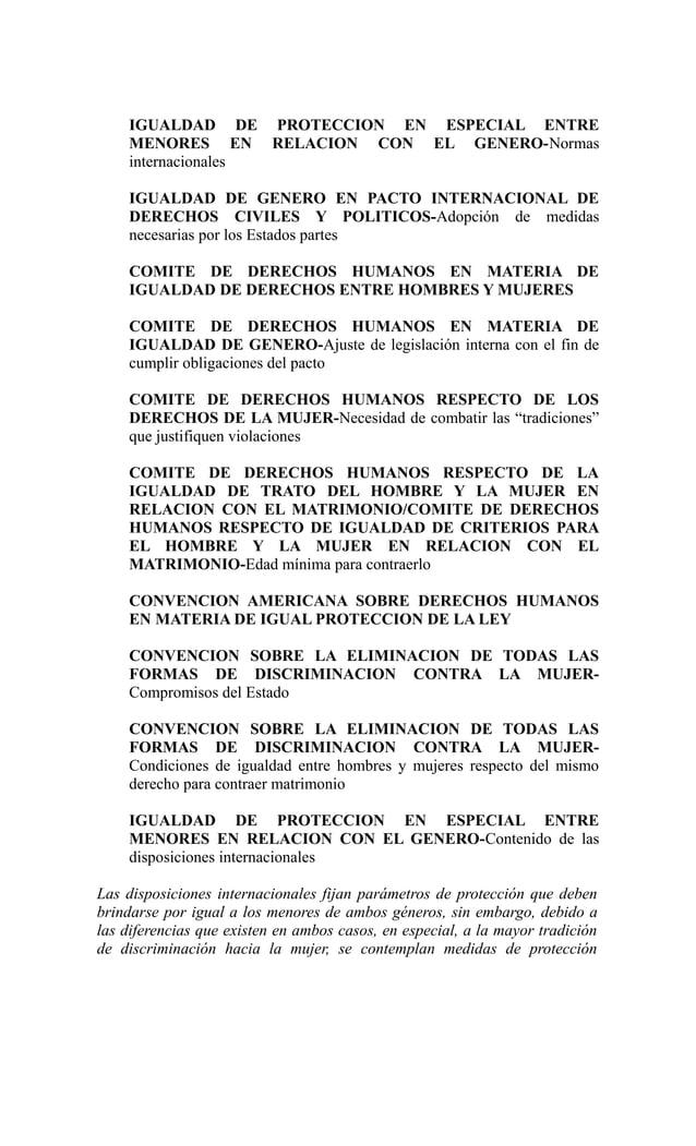 IGUALDAD DE PROTECCION EN ESPECIAL ENTRE    MENORES EN RELACION CON EL GENERO-Normas    internacionales    IGUALDAD DE GEN...