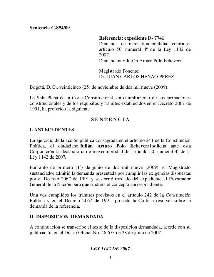 Sentencia C-854/09                                   Referencia: expediente D- 7741                                   Dema...