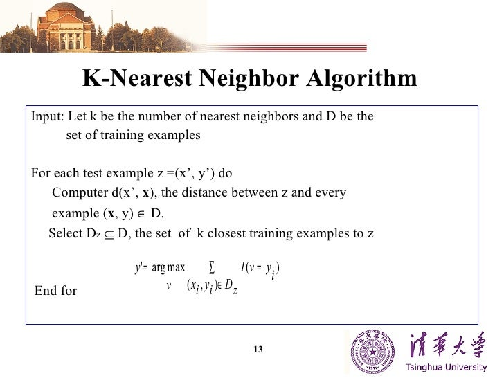 write an algorithm for k-nearest neighbor classification of computer