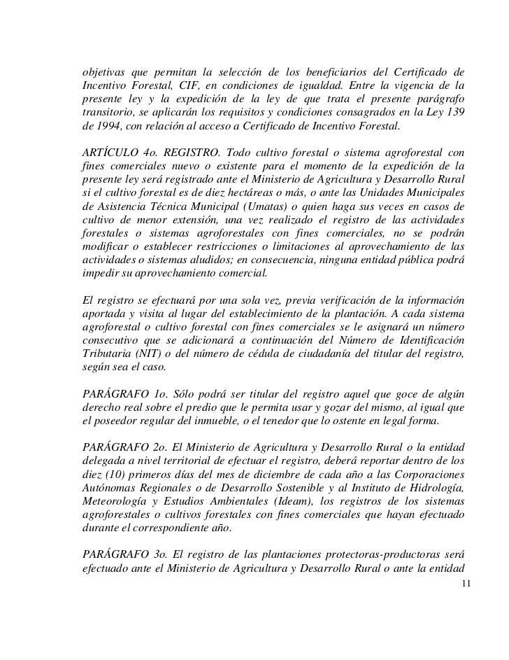 objetivas que permitan la selección de los beneficiarios del Certificado deIncentivo Forestal, CIF, en condiciones de igua...