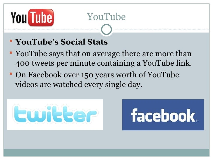 YouTube YouTube's Social Stats YouTube says that on average there are more than  400 tweets per minute containing a YouT...