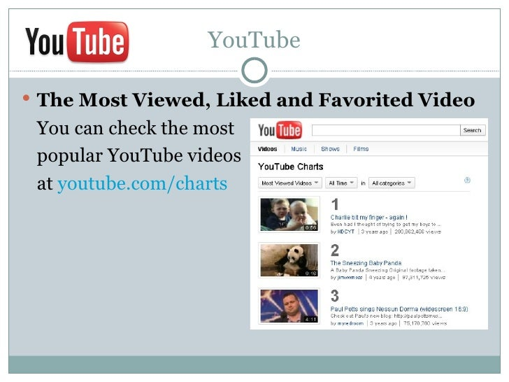 YouTube The Most Viewed, Liked and Favorited Video You can check the most popular YouTube videos at youtube.com/charts