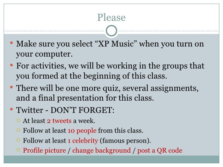 """Please Make sure you select """"XP Music"""" when you turn on  your computer. For activities, we will be working in the groups..."""