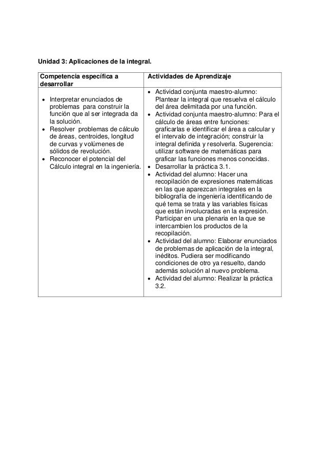 Unidad 3: Aplicaciones de la integral.Competencia específica adesarrollarActividades de Aprendizaje• Interpretar enunciado...