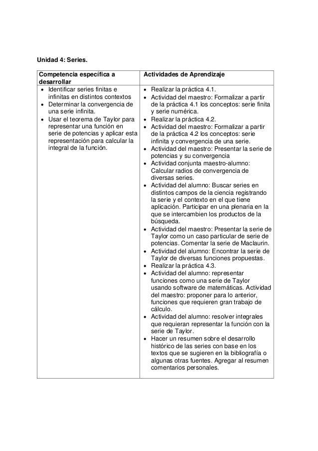 Unidad 4: Series.Competencia específica adesarrollarActividades de Aprendizaje• Identificar series finitas einfinitas en d...
