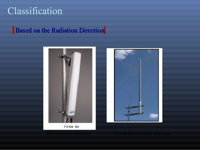 ClassificationDirectional antenna Omni-directional antennaBased on the Radiation DirectionBased on the Radiation Direction