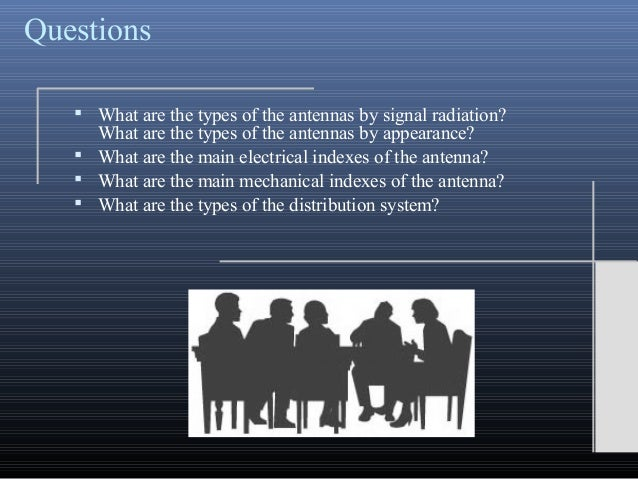 Questions What are the types of the antennas by signal radiation?What are the types of the antennas by appearance? What ...