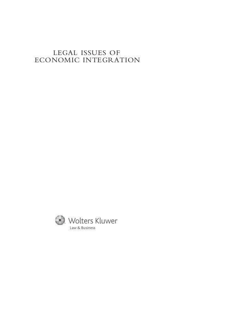 LEGAL ISSUES OFECONOMIC INTEGRATION      Law & Business