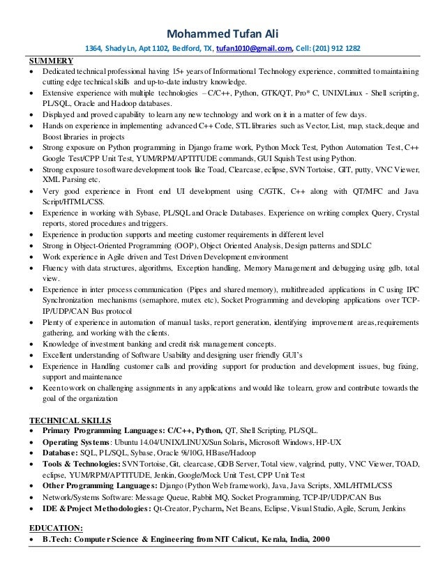 C c++python-linux -developer resume