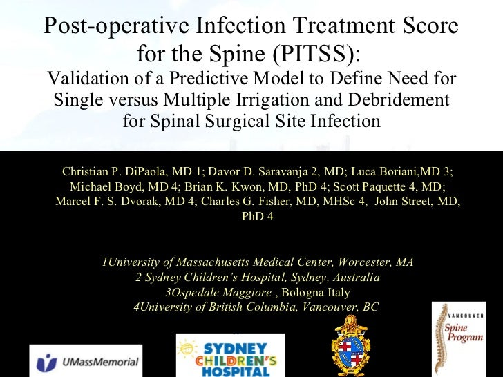 Post-operative Infection Treatment Score for the Spine (PITSS):   Validation of a Predictive Model to Define Need for Sing...