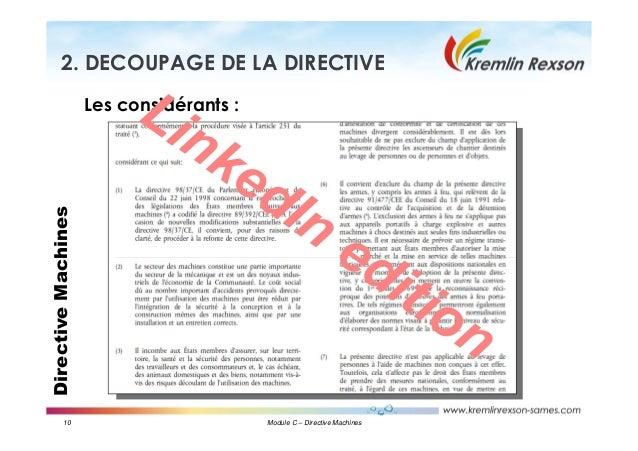 10 Module C – Directive Machines DirectiveMachines2. DECOUPAGE DE LA DIRECTIVE Les considérants : LinkedIn edition