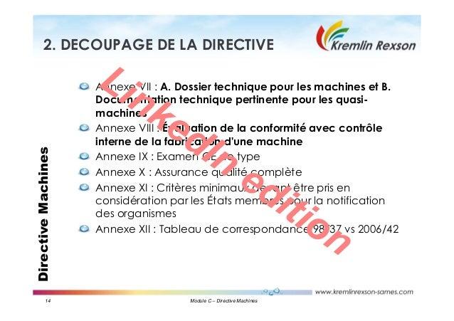 14 Module C – Directive Machines DirectiveMachines2. DECOUPAGE DE LA DIRECTIVE Annexe VII : A. Dossier technique pour les ...