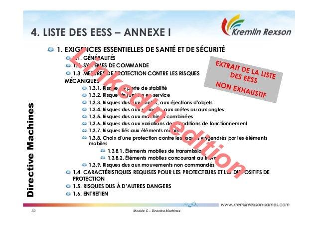 30 Module C – Directive Machines DirectiveMachines4. LISTE DES EESS – ANNEXE I 1. EXIGENCES ESSENTIELLES DE SANTÉ ET DE SÉ...