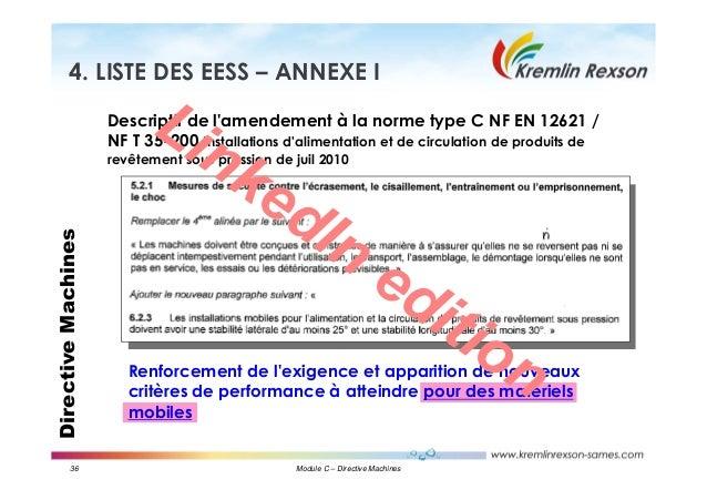 36 Module C – Directive Machines DirectiveMachines4. LISTE DES EESS – ANNEXE I Descriptif de l'amendement à la norme type ...