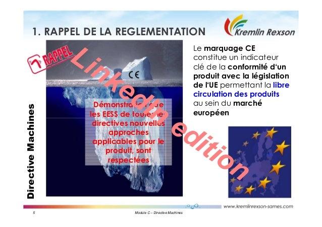 5 Module C – Directive Machines DirectiveMachines1. RAPPEL DE LA REGLEMENTATION Le marquage CE constitue un indicateur clé...