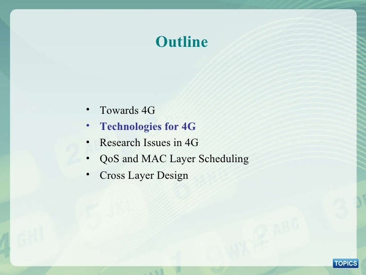 Outline <ul><li>Towards 4G </li></ul><ul><li>Technologies for 4G </li></ul><ul><li>Research Issues in 4G </li></ul><ul><li...