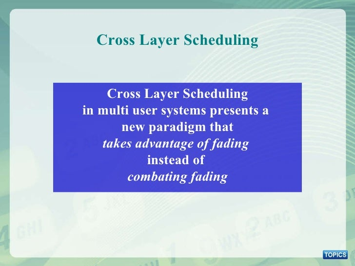 Cross Layer Scheduling Cross Layer Scheduling in multi user systems presents a  new paradigm that takes advantage of fadin...