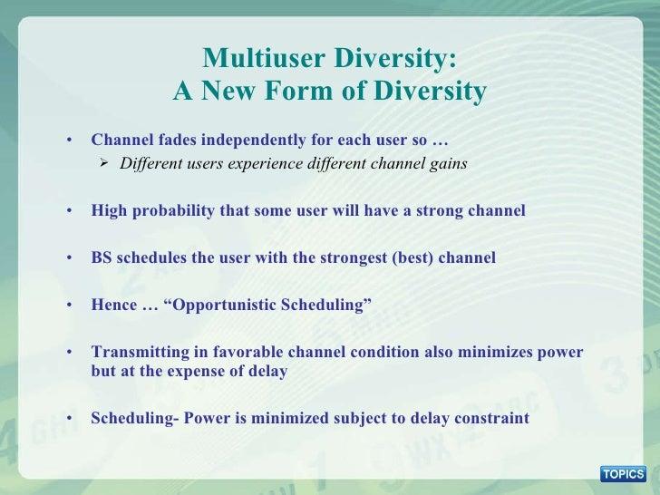 Multiuser Diversity: A New Form of Diversity <ul><li>Channel fades independently for each user so … </li></ul><ul><ul><li>...