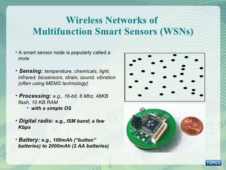 Wireless Networks of  Multifunction Smart Sensors (WSNs) <ul><li>A smart sensor node is popularly called a    mote </li></...