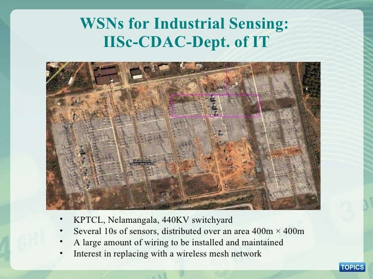 WSNs for Industrial Sensing:  IISc-CDAC-Dept. of IT <ul><li>KPTCL, Nelamangala, 440KV switchyard </li></ul><ul><li>Several...